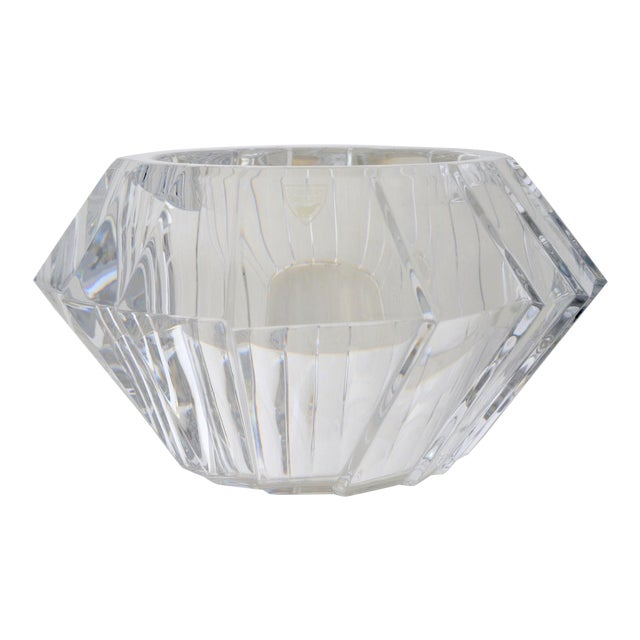Mid-Century Swedish Modern Orrefors Crystal Faceted Bowl For Sale