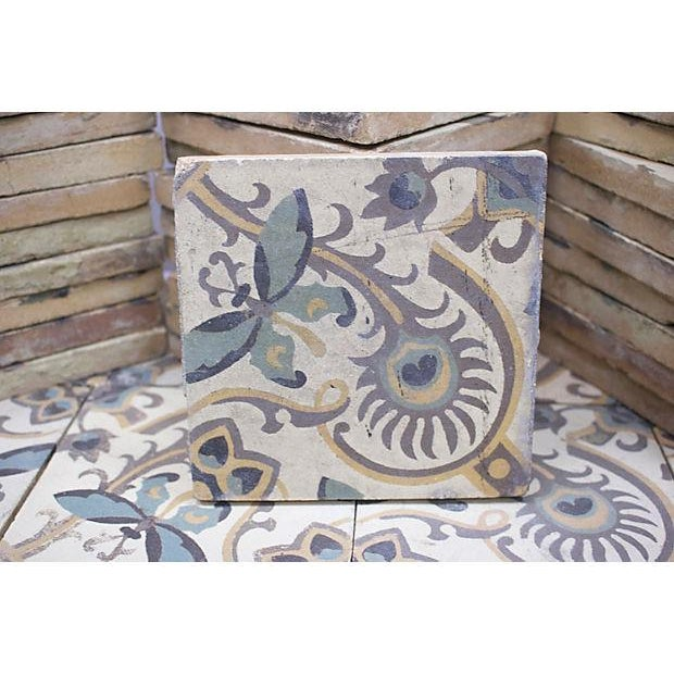 French Antique French Salvage Cement Tiles - 40 Pieces For Sale - Image 3 of 3