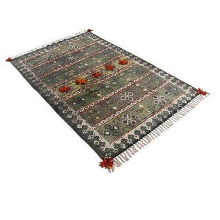 Tribal Multi-Colored Embroidered and Pom Cotton Rug - 4′ × 6′ For Sale