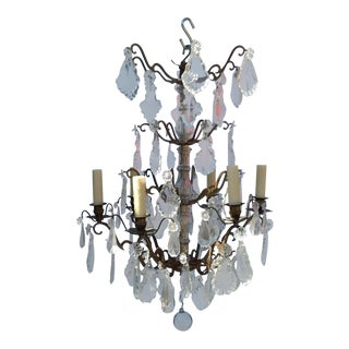 French Bronze and Crystal Cage Style Chandelier For Sale