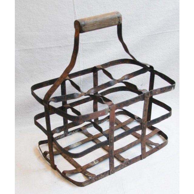 1930s French Metal 6 Bottle Wine Carrier For Sale - Image 7 of 8