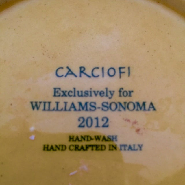 Vintage Carciofi for William Sonoma Italian Hand-Painted Ceramic Platter For Sale In New York - Image 6 of 6