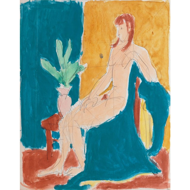 Cerulean 'Seated Nude' by Victor Di Gesu; 1955, Paris, Louvre, Académie Chaumière, California Post-Impressionist, Lacma For Sale - Image 8 of 8