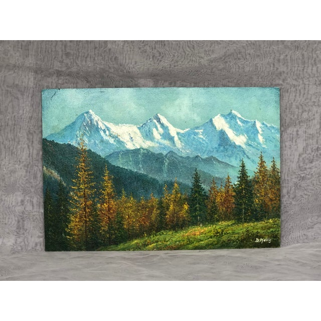 Mid 20th Century Mountain Landscape Oil Painting For Sale - Image 13 of 13