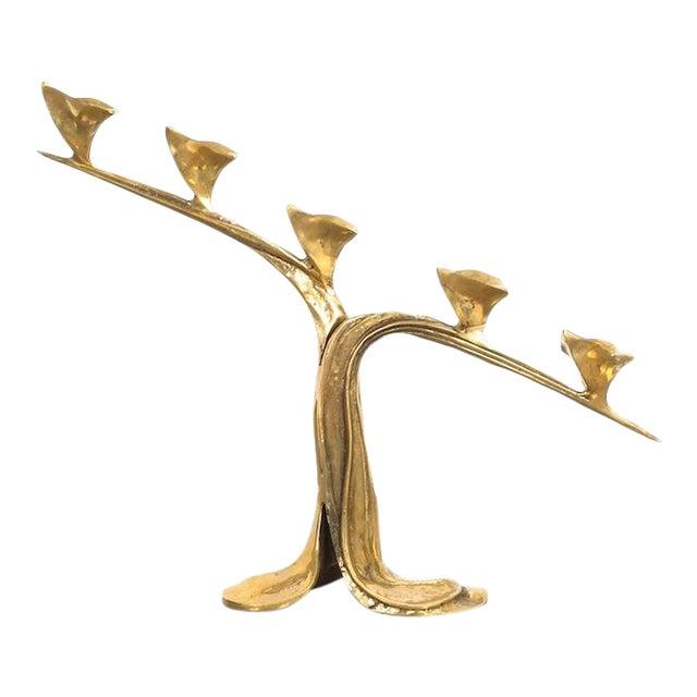 Art Nouveau Brass Candle Stick Holder Candelabra, Austria Circa 1910 For Sale