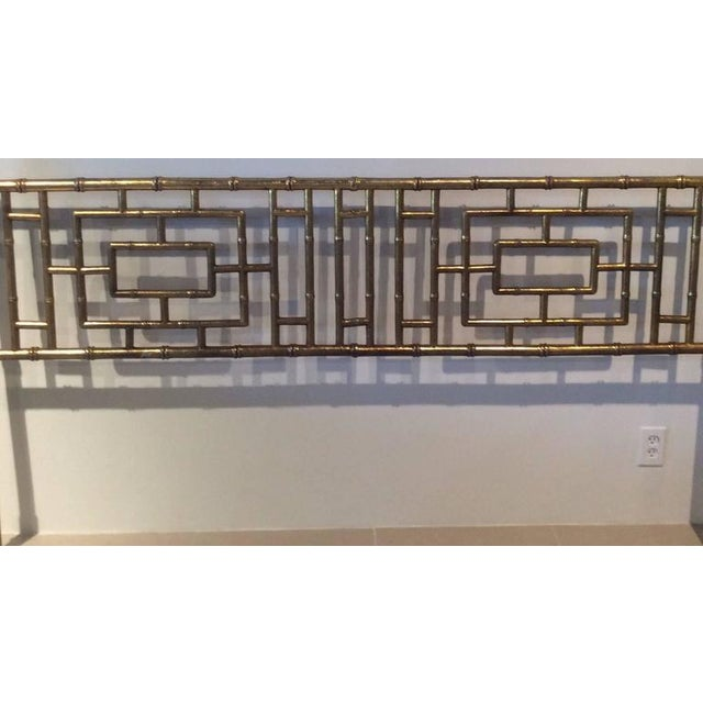 Vintage Faux Bamboo Chinese Chippendale King-Size Headboard For Sale In West Palm - Image 6 of 11