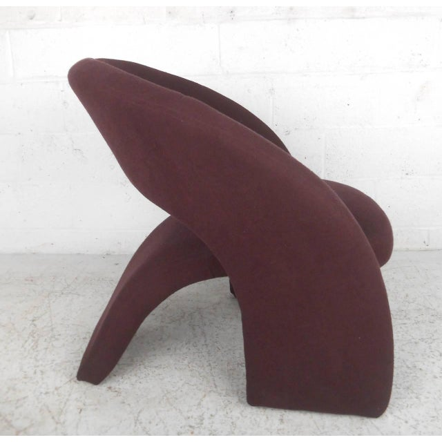 Contemporary Modern Sculptural Lounge Chair with Ottoman - Image 3 of 11