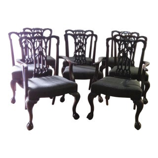 Chippendale Style Mahogany Dining Chairs - Set of 8