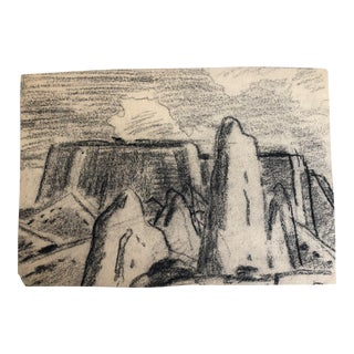 1930s Vintage Eliot Clark Monument Valley, Colorado Plein Air Drawing For Sale