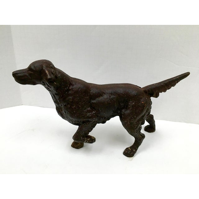 1930s Vintage Cast Iron Sporting Dog Doorstop For Sale - Image 5 of 12
