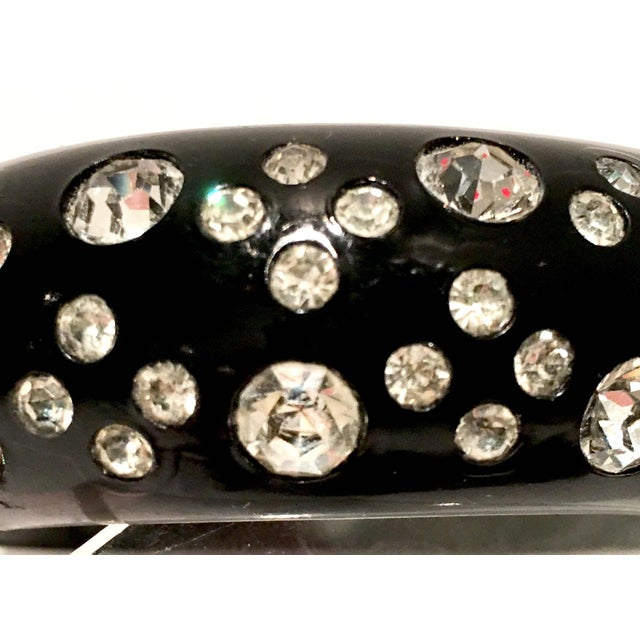 1950's Vintage Weiss Black Thermoplastic & Swarovski Crystal Clamper Cuff Bracelet For Sale - Image 9 of 11