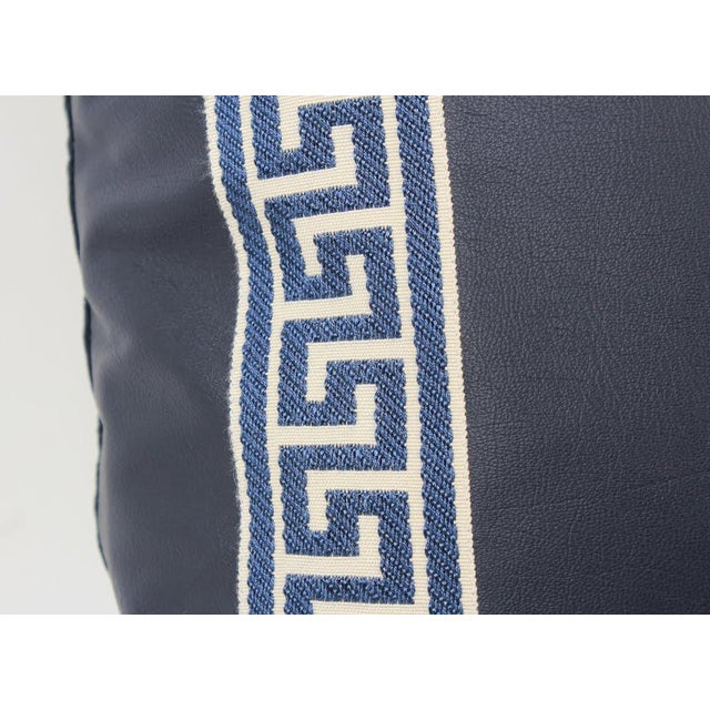 Navy Leather Greek Key Pillows, Pair For Sale - Image 4 of 7