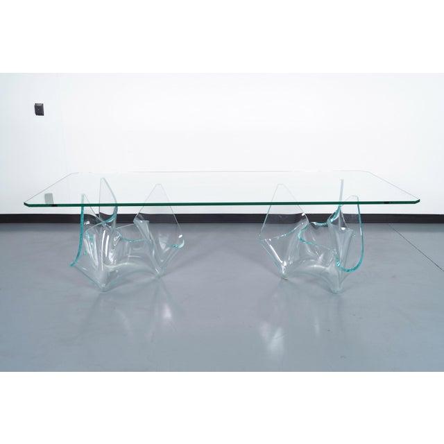 Vintage sculptural glass dining table designed by the glass artist Laurel Fyfe.