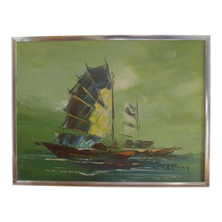 Mid-Century Modern Nautical Painting For Sale