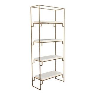 Brenner Hollywood Regency Gold White Lacquer Etagere Bookshelf Bookcase Shelves For Sale