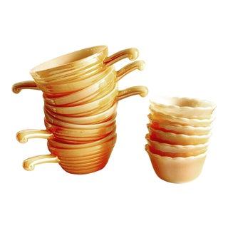 Midcentury Tangerine Toned Fireking Bowls, Set of Fifteen For Sale