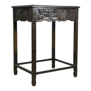 1920 Chinese Apricot Wood Bedside Table by Wang Sheng Qi Furniture Company Shanghai For Sale