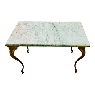 Late 19th Century French Louis XV Style Bronze and Marble Coffee Table For Sale