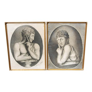 Early 19th Century French Salon Portrait Drawings, Framed - a Pair For Sale