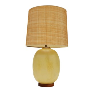 Light Ochre Glaze Ceramic Table Lamp For Sale