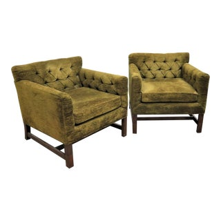 Mid Century Drexel Tufted Club Chairs- A Pair For Sale