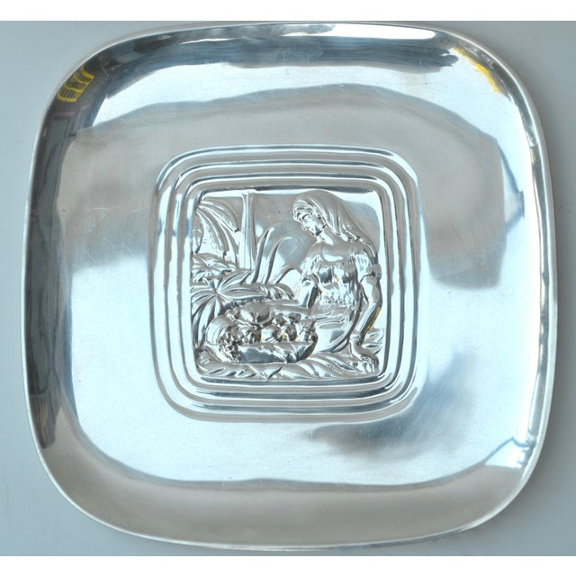 "1940s Art Deco International Silver Co. ""Tropical"" Pattern Tray, c 1940s For Sale - Image 5 of 6"