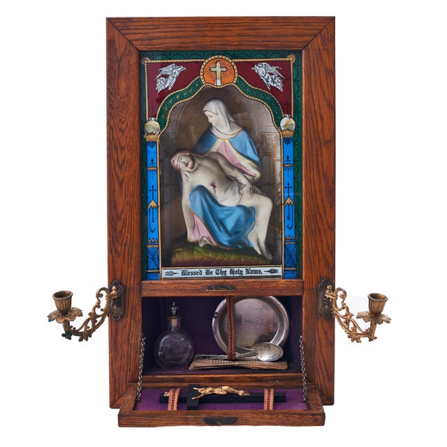 Beautiful mid 20th century antique oak Catholic Viaticum used for last rites, featuring the statue La Pieta under reverse...