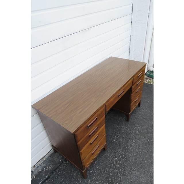 Wood Mid Century Modern Large Writing Office Desk For Sale - Image 7 of 13