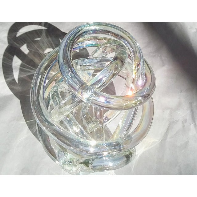 Hollywood Regency Cased Glass Sculptural Knot With Companion Piece - a Pair For Sale - Image 3 of 5
