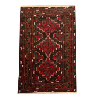 Vintage Traditional 'Baluch' Deep Red Medallion Pattern Small Area Rug - 3′9″ × 6′8″ For Sale