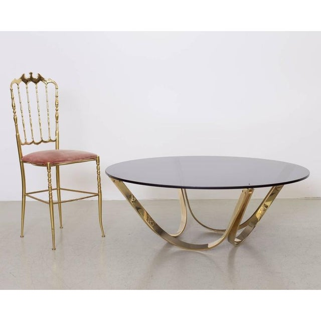 Metal Brass and Smoked Glass Coffee Table by Tri-Mark, circa, 1971 For Sale - Image 7 of 8