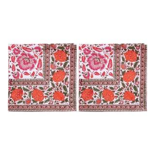 Riyad Napkins, Pink & Orange - A Pair For Sale