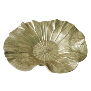 Vintage Va MetalCrafters Large Lotus Leaf Bowl For Sale