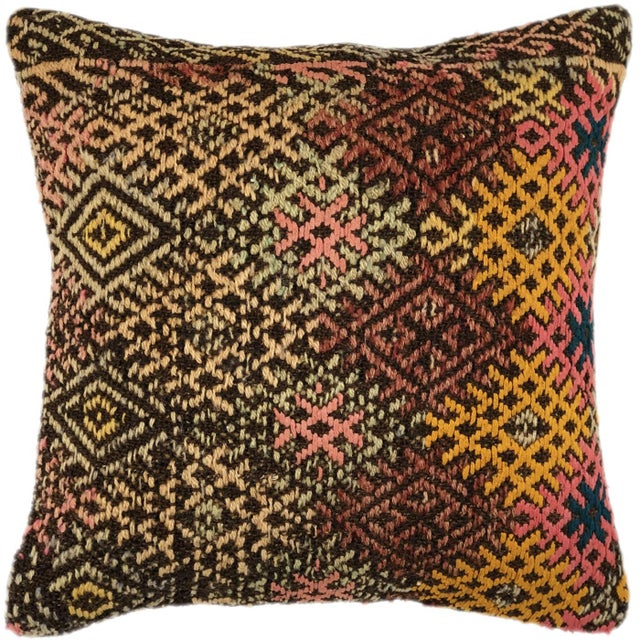 """Mid-Century Modern Rich Rustic Kilim Pillow 