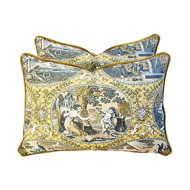 Designer Scalamandre Cupido Toile Pillows - Pair - Image 1 of 7