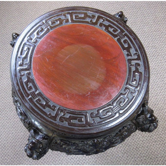 Antique Ebonized Carved Wood Chinese Plant Stand For Sale - Image 9 of 12