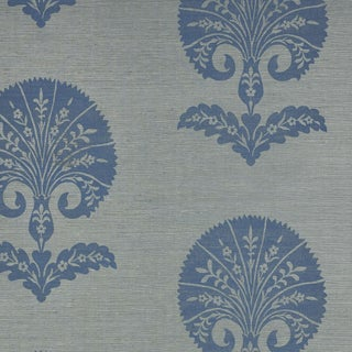 Sample - Schumacher Ottoman Flower Sisal Wallpaper in Mineral For Sale