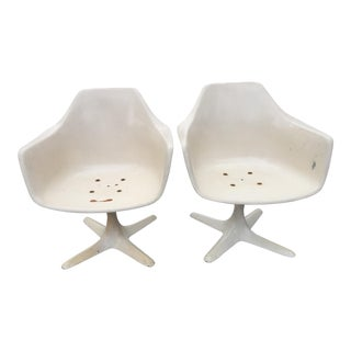 1970s Mid Century Modern Burke Inc. Tulip Arm Chairs - a Pair For Sale