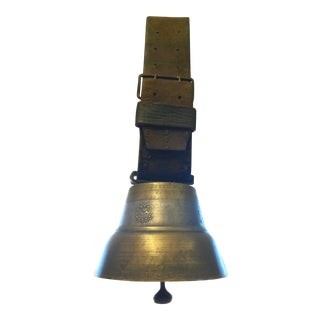 Antique Swiss Bronze Cow Bell on Leather Belt For Sale