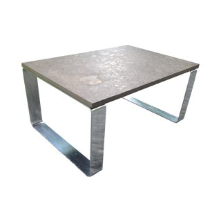 Vintage Fossil Covered Cast Stone Top Coffee Table