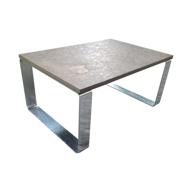 Vintage Fossil Covered Cast Stone Top Coffee Table - Image 1 of 9