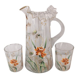Mid 20th Century Victorian Handpainted Enamel / Gold Glass Pitcher & Glasses - Set of 3 For Sale