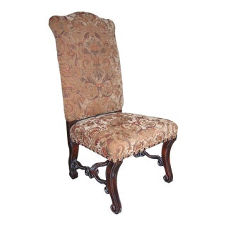 Tuscan Style Distressed Walnut Side Chair For Sale