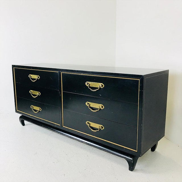 Asian Black & Gold Asian Style Dresser by American of Martinsville For Sale - Image 3 of 7