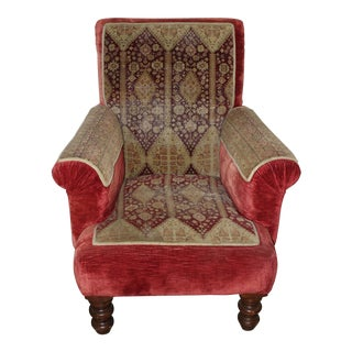 1990s Red Mohair Armchair For Sale