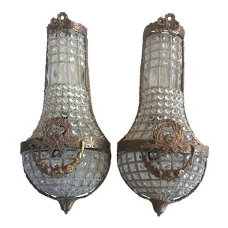 Swedish Style Bow & Garland Crystal Sconces - A Pair
