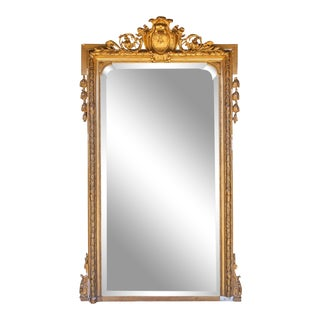 Antique French Rectangular Gilt Mirror With Ornate Cartouche & Laurel Detail For Sale