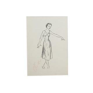 1950s Pen & Ink Advertising Art - Woman in Full Slip by Barbara Crist For Sale