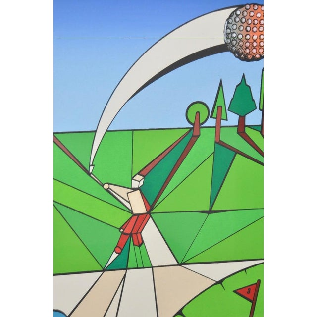 """Vintage Cubist Golf """"A Birdie"""" Silkscreen by Herman c.1977 For Sale - Image 5 of 7"""