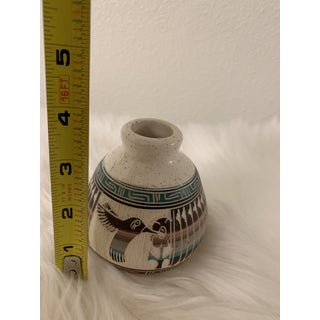 Vintage Navajo Signed Terra Cotta Pottery Vase With Bird Preview
